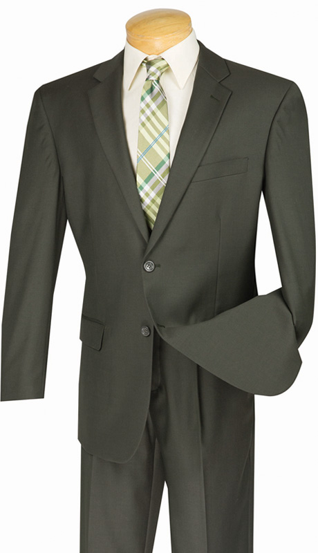Vinci Mens Suit 2TR-OL ( 2pc Single Breasted Two Buttons, Side Vents, Single Pleated Pants, Pure Solid )
