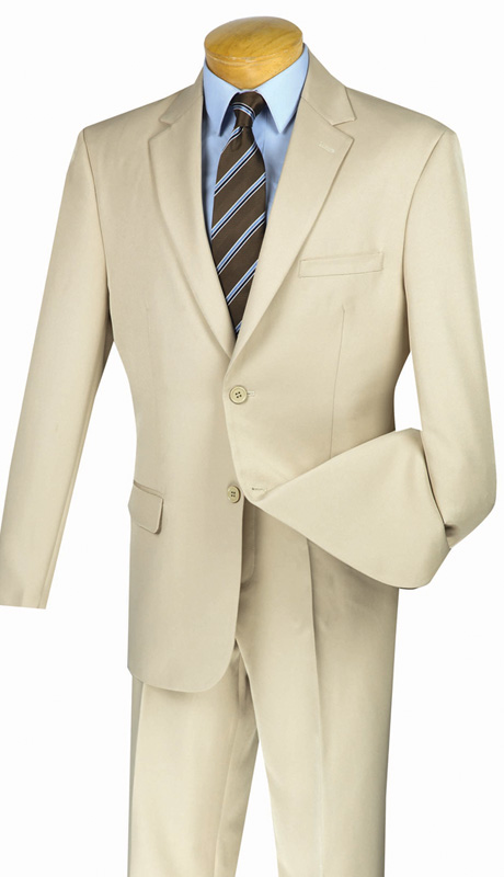 Vinci Mens Suit 2AA-BE ( 2pc Single Breasted, Two Button, Side Vents, Flat Front Pant With Flexible Waist-Band, Solid Color )