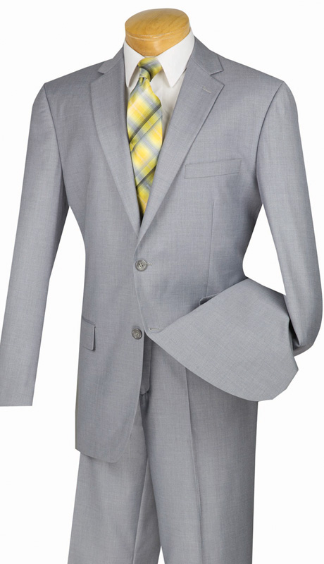 Vinci Mens Suit 2C900-2-LG  ( 2pc  Single Breasted Two Buttons, Side Vents, Flat Front Pants, Solid Color )