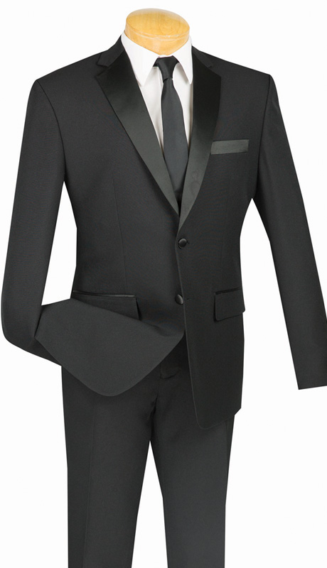Vinci Mens Suit T-SLPP-BLK ( 2pc Single Breasted Tuxedo, Two Button, Side Vent, Flat Front Pant, Solid Color )
