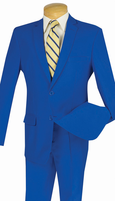 Vinci Mens Suit S-2PP-ROY ( 2pc Single Breasted Two Buttons, With Side Vents, Flat Front Pants, Solid Color )