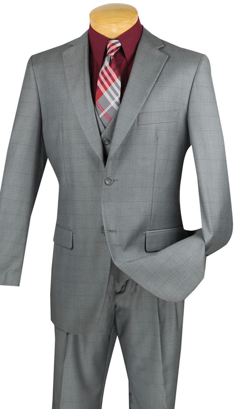 Vinci Mens Suit V2RW-11-GRA ( 3pc Single Breasted With Vest,Window Pane Pattern, Two Buttons, Side Vents, Single Pleated Pants )
