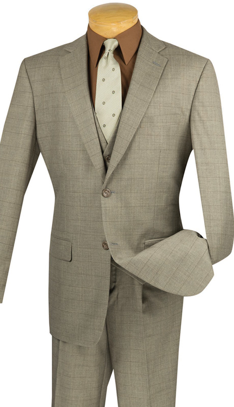 Vinci Mens Suit V2RW-11-TAU ( 3pc Single Breasted With Vest,Window Pane Pattern, Two Buttons, Side Vents, Single Pleated Pants )