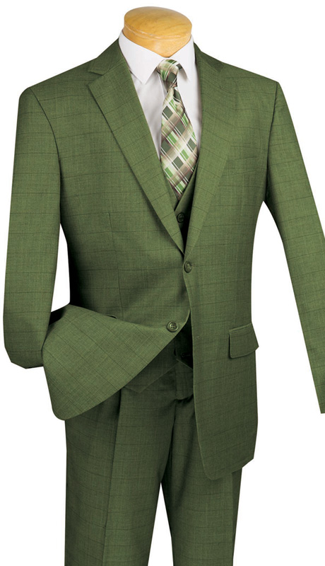 Vinci Mens Suit V2RW-11-OL ( 3pc Single Breasted With Vest,Window Pane Pattern, Two Buttons, Side Vents, Single Pleated Pants )