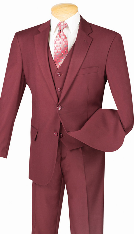Vinci Mens Suit V2TR-BURG  ( 3pc Single Breasted, Two Buttons,  Side Vents, Flat Front Pants, Pure Solid )