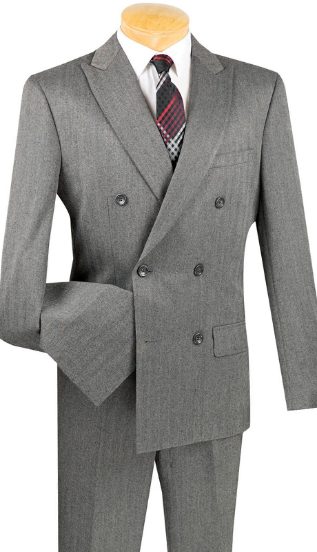 Vinci Mens Suits SDHB-1-CHA ( 2pc Double Breasted, Six Buttons, Peak Lapel, Side Vents, Flat Front Pants, Herringbone Stripe )