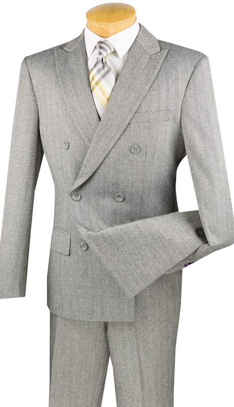 Vinci Mens Suits SDHB-1-MG ( 2pc Double Breasted, Six Buttons, Peak Lapel, Side Vents, Flat Front Pants, Herringbone Stripe )