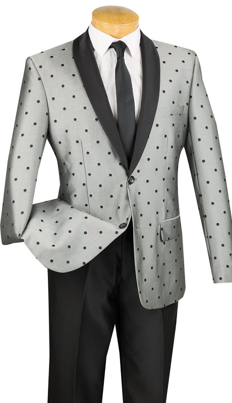 Vinci Mens Suit S2DR-5-GRA ( 2pc Single Breasted, Two Buttons, Shawl Lapel, Side Vents, Flat Front Pants, Polka-Dot Pattern )