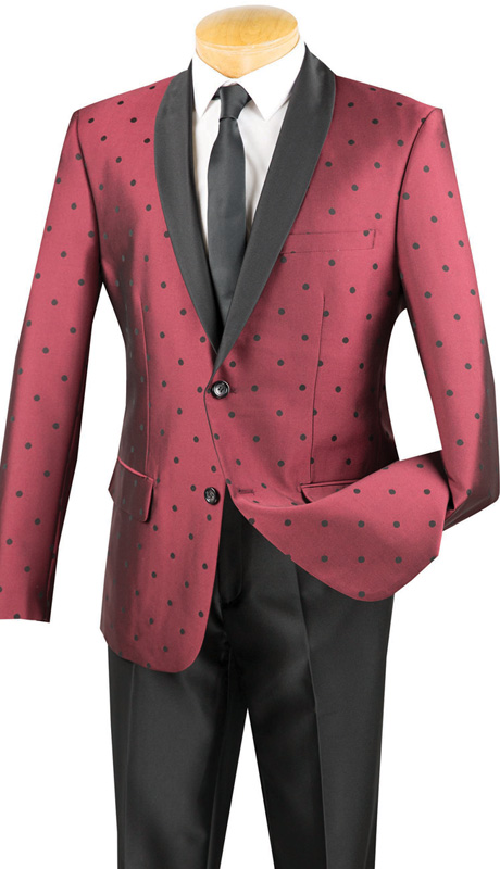 Vinci Mens Suit S2DR-5-BUR ( 2pc Single Breasted, Two Buttons, Shawl Lapel, Side Vents, Flat Front Pants, Polka-Dot Pattern )