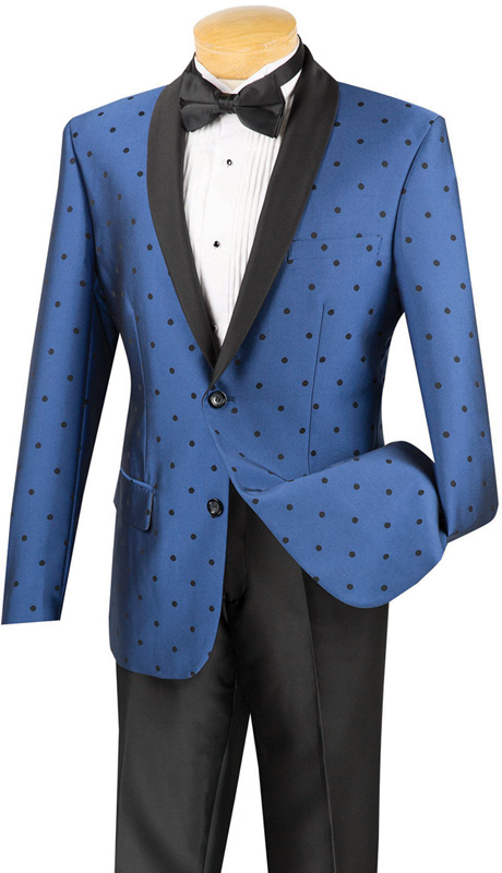 Vinci Mens Suit S2DR-5-BLU ( 2pc Single Breasted, Two Buttons, Shawl Lapel, Side Vents, Flat Front Pants, Polka-Dot Pattern )