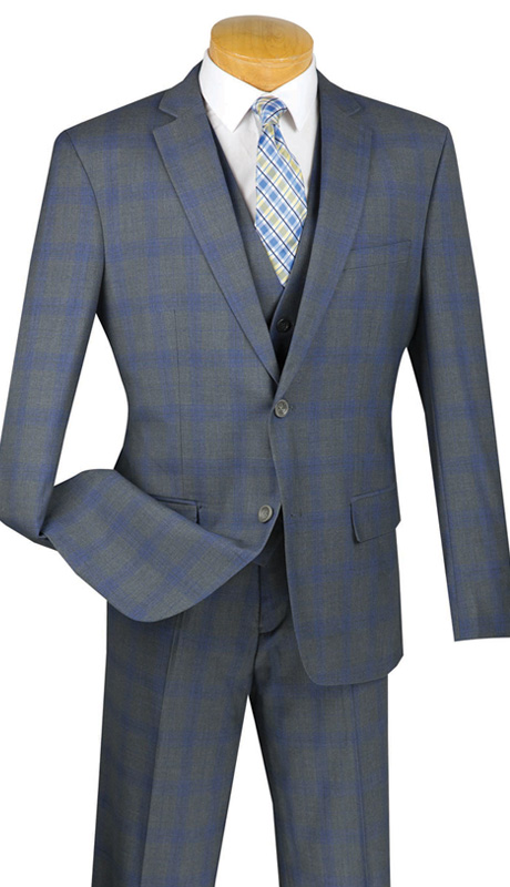 Vinci Mens Suit SV2W-4-GRA ( 3pc Double Breasted With Vest, Two Buttons, Side Vents, Flat Front Pants, Glen Plaid )
