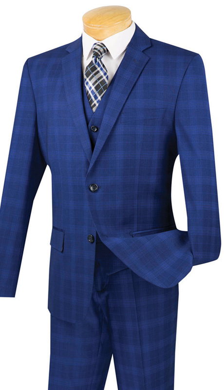 Vinci Mens Suit SV2W-4-BLU ( 3pc Double Breasted With Vest, Two Buttons, Side Vents, Flat Front Pants, Glen Plaid )