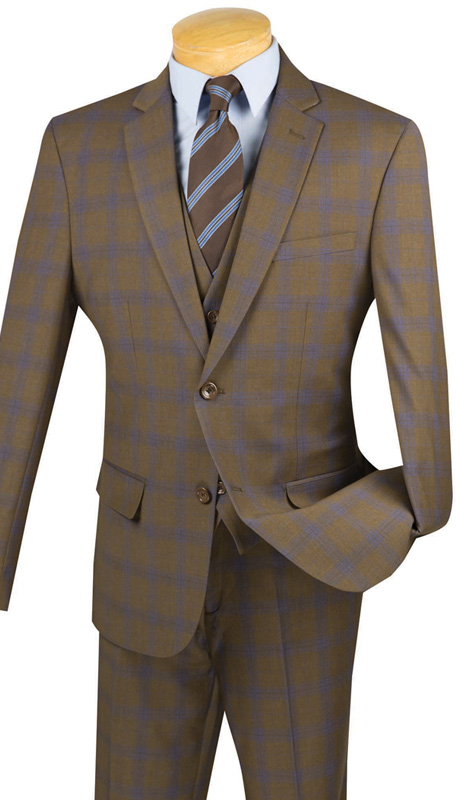 Vinci Mens Suit SV2W-4-TAU ( 3pc Double Breasted With Vest, Two Buttons, Side Vents, Flat Front Pants, Glen Plaid )