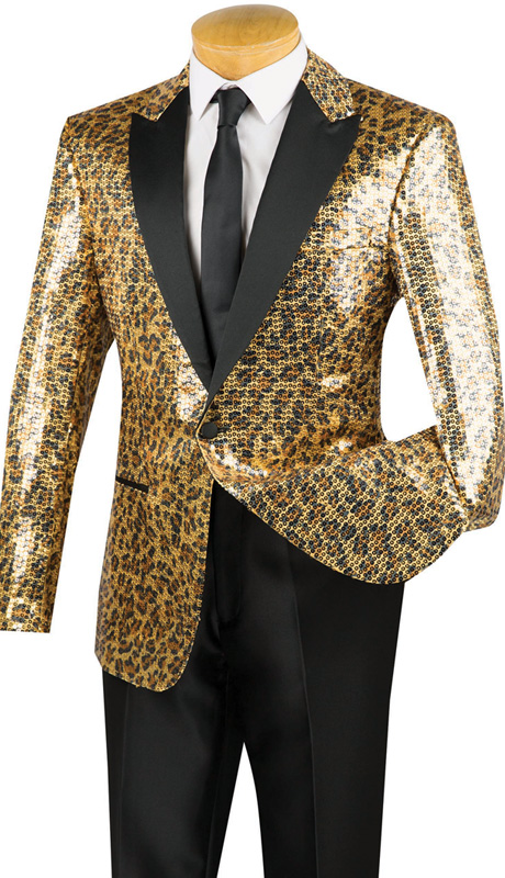 Vinci Mens Sport Coat BSQ-2 ( 1pc Single Breasted, One Button, Peak Collar Sequin Sport Coat With Side Vents And Leopard Print )