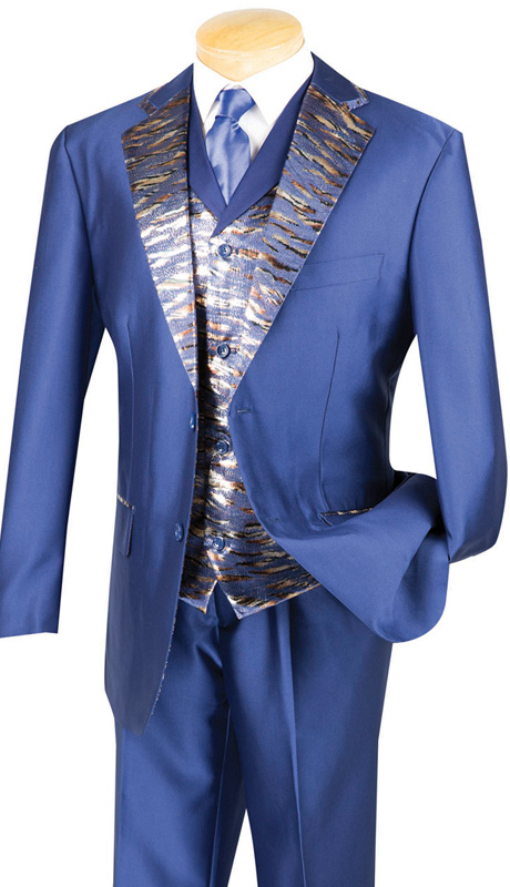 Vinci Mens Suit 23LP-1-BLU ( 3pc Single Breasted, Two Buttons, Trimmed Jacket With Fancy Vest, Side Vents, Single Pleated Pants )