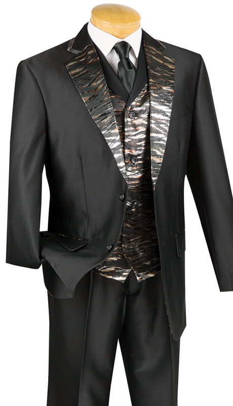 Vinci Mens Suit 23LP-1-BLK ( 3pc Single Breasted, Two Buttons, Trimmed Jacket With Fancy Vest, Side Vents, Single Pleated Pants )