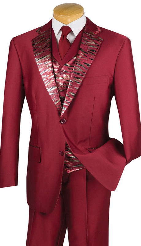 Vinci Mens Suit 23LP-1-BURG ( 3pc Single Breasted, Two Buttons, Trimmed Jacket With Fancy Vest, Side Vents, Single Pleated Pants )