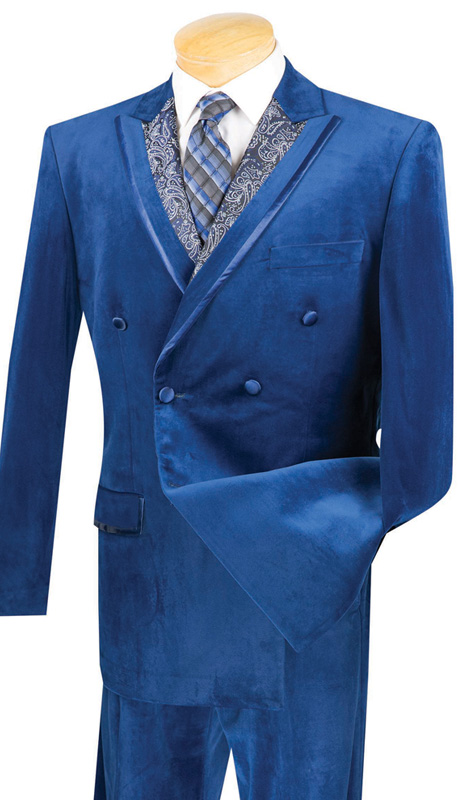 Vinci Mens Suit F2DG-1-NA ( 2pc Double Breasted, Six Buttons, Side Vents, Single Pleated Pants, Velevt With Paisley Pattern On Lapel )