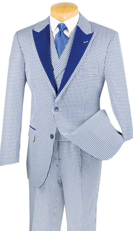 Vinci Mens Suit 23HS-4-NA ( 3pc Single Breasted, Two Buttons, Trimmed Jacket And Fancy Double Breasted Vest, Side Vents, Single PLeated Pants, Houndstooth Pattern )