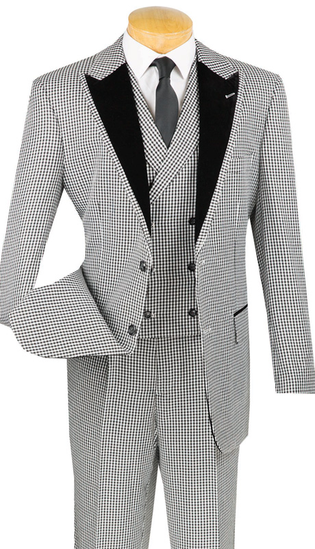 Vinci Mens Suit 23HS-4-BLK ( 3pc Single Breasted, Two Buttons, Trimmed Jacket And Fancy Double Breasted Vest, Side Vents, Single PLeated Pants, Houndstooth Pattern )