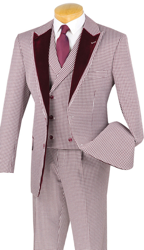 Vinci Mens Suit 23HS-4-BUR ( 3pc Single Breasted, Two Buttons, Trimmed Jacket And Fancy Double Breasted Vest, Side Vents, Single PLeated Pants, Houndstooth Pattern )