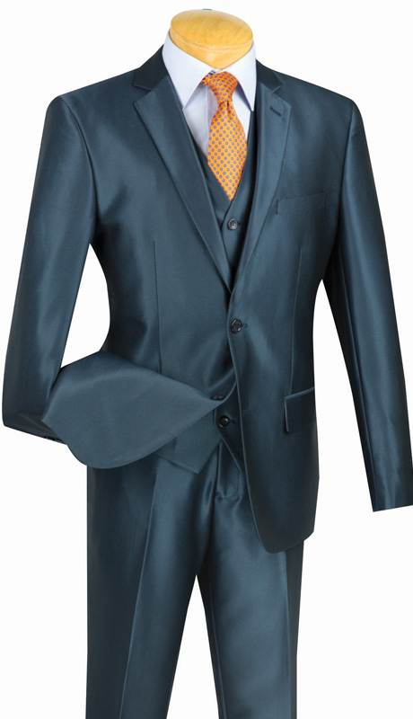 Vinci Mens Suit SV2R-2-BLU  ( 3pc Single Breasted Two Buttons, Side Vents, Flat Front Pants, Textured Solid )