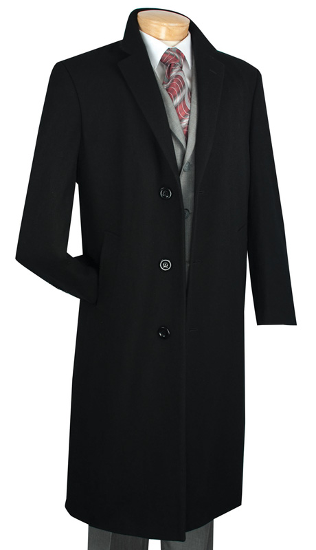 Vinci Mens Coat CL48-1-BLK ( 1pc Single Breasted Three Buttons, 48 Inch Full Length, Solid Color )