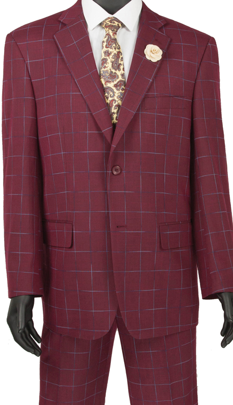 Vinci Mens Suit 2RW-4 Wine ( 2pc Single Breasted 2 Button, Side Vents, Single Pleated Pants, Window Pane )