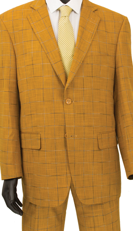 Vinci Mens Suit 2RW-4 Ginger ( 2pc Single Breasted 2 Button, Side Vents, Single Pleated Pants, Window Pane )