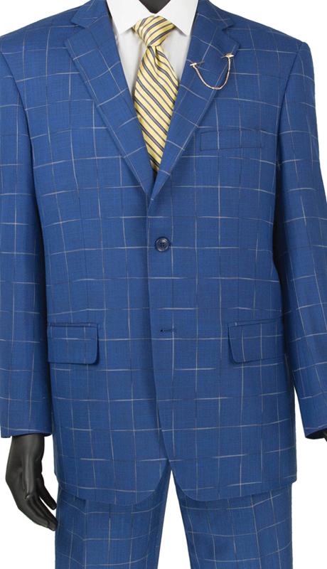 Vinci Mens Suit 2RW-4 Blue ( 2pc Single Breasted 2 Button, Side Vents, Single Pleated Pants, Window Pane )