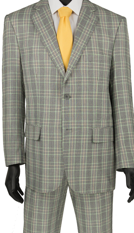 Vinci Mens Suit 2RW-5 Gray  ( 2pc Single Breasted 2 Button, Side Vents, Flat Front Pants, Glen Plaid )