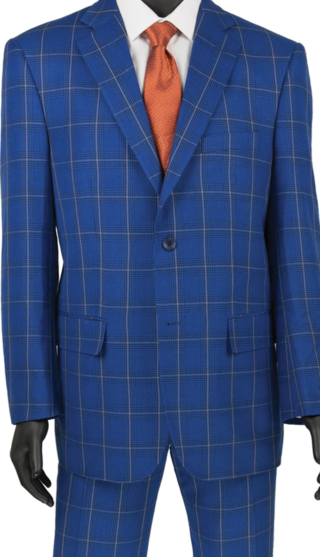 Vinci Mens Suit 2RW-5 Blue  ( 2pc Single Breasted 2 Button, Side Vents, Flat Front Pants, Glen Plaid )