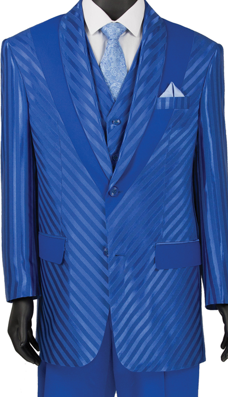 Vinci Mens Suit 23RS-9 Blue ( 3pc Single Breasted 2 Button Coat With Peak Lapel, Side Vents, Window Pane )