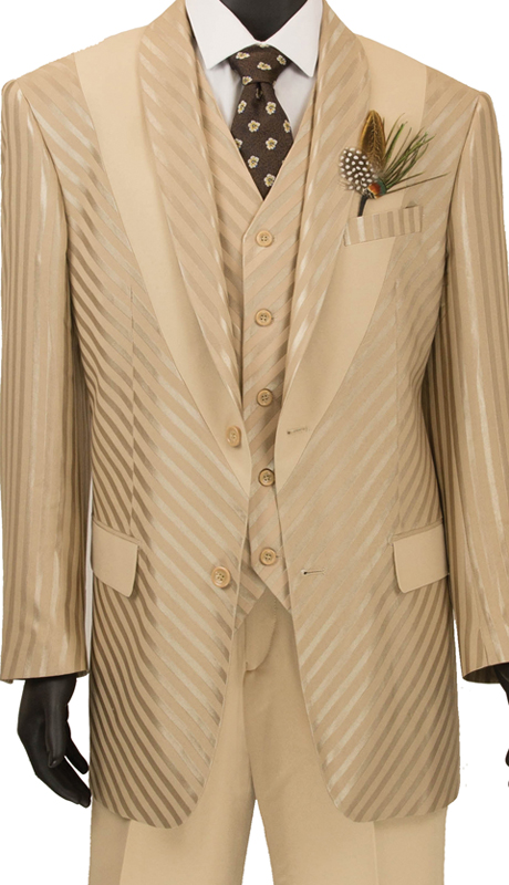Vinci Mens Suit 23RS-9 Almond ( 3pc Single Breasted 2 Button Coat With Peak Lapel, Side Vents, Window Pane )