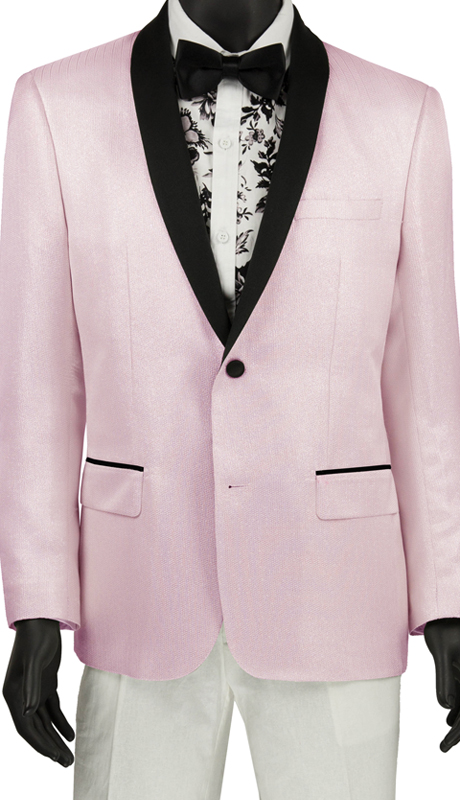 Vinci Mens Suit BSF-6 Blush ( 1pc Single Breasted 2 Button Shawl Collar Sport Coat, Side Vents, Metallic Stripe )