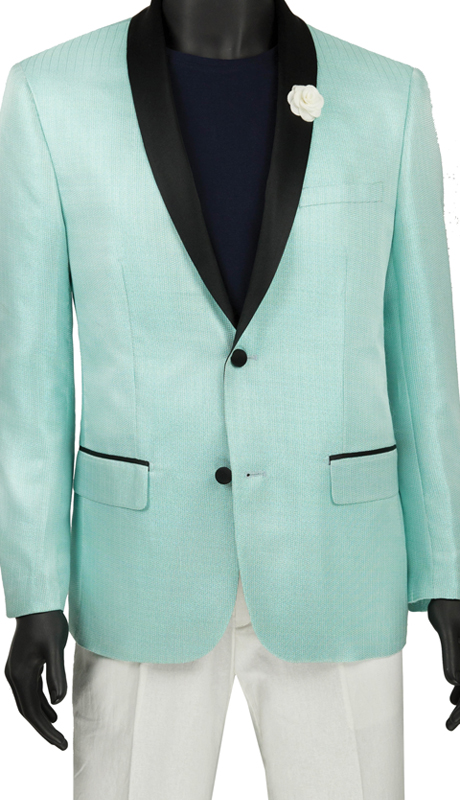 Vinci Mens Suit BSF-6 Aqua ( 1pc Single Breasted 2 Button Shawl Collar Sport Coat, Side Vents, Metallic Stripe )