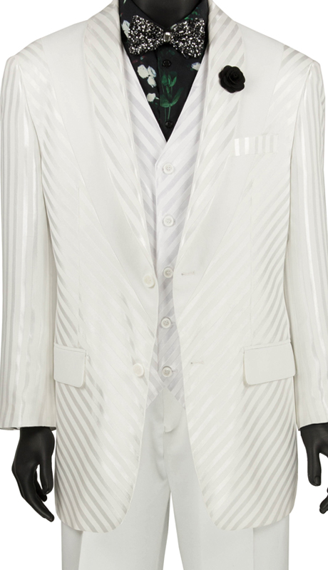 Vinci Mens Suit 23RS-9 White ( 3pc Single Breasted 2 Button Coat With Peak Lapel, Side Vents, Window Pane )