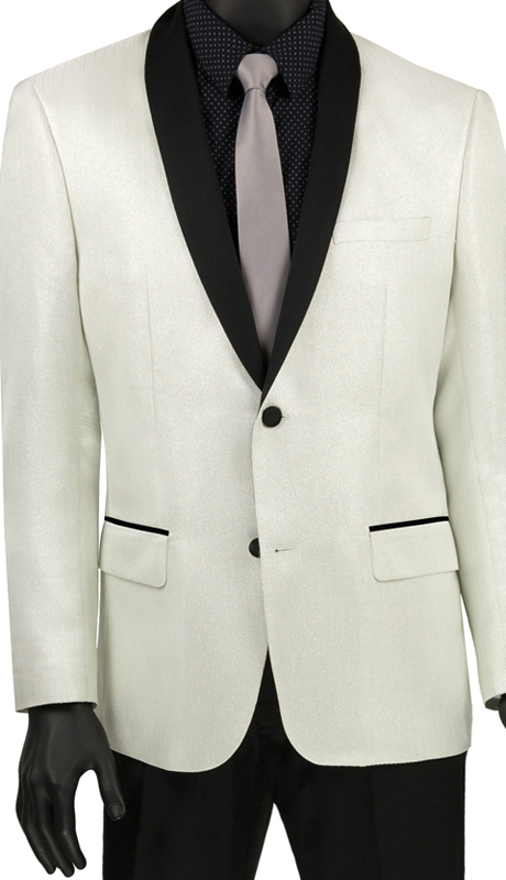 Vinci Mens Suit BSF-6 White ( 1pc Single Breasted 2 Button Shawl Collar Sport Coat, Side Vents, Metallic Stripe )