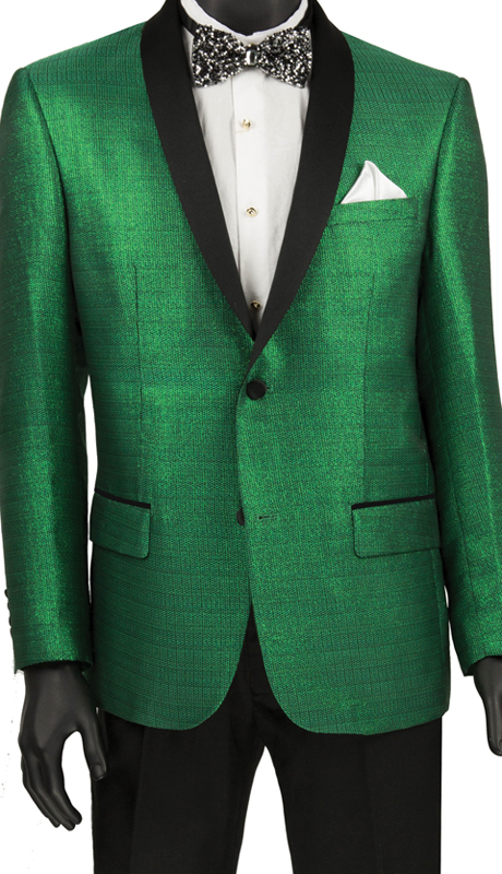 Vinci Mens Suit BSF-6 Green ( 1pc Single Breasted 2 Button Shawl Collar Sport Coat, Side Vents, Metallic Stripe )