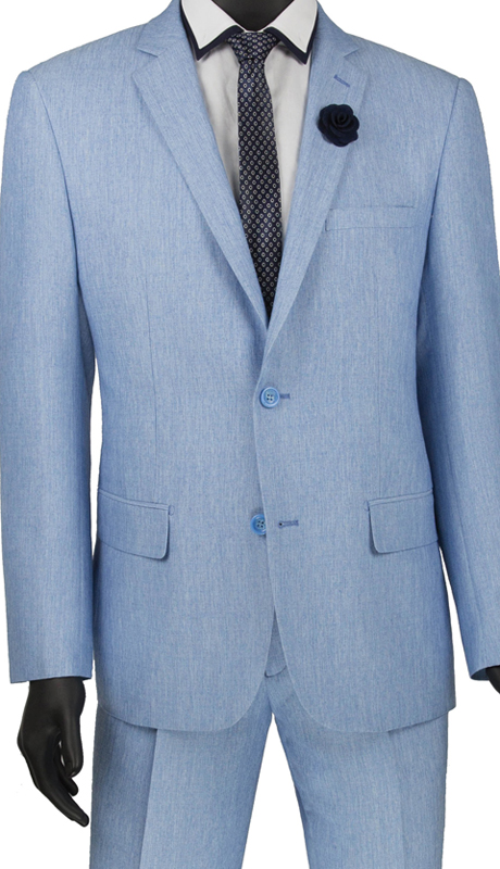 Vinci Mens Suit S2RK-8 Blue ( 2pc Single Breasted 2 Button Suit, Side Vents, Flat Front Pants )