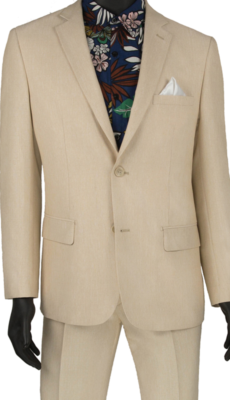 Vinci Mens Suit S2RK-8 Beige ( 2pc Single Breasted 2 Button Suit, Side Vents, Flat Front Pants )
