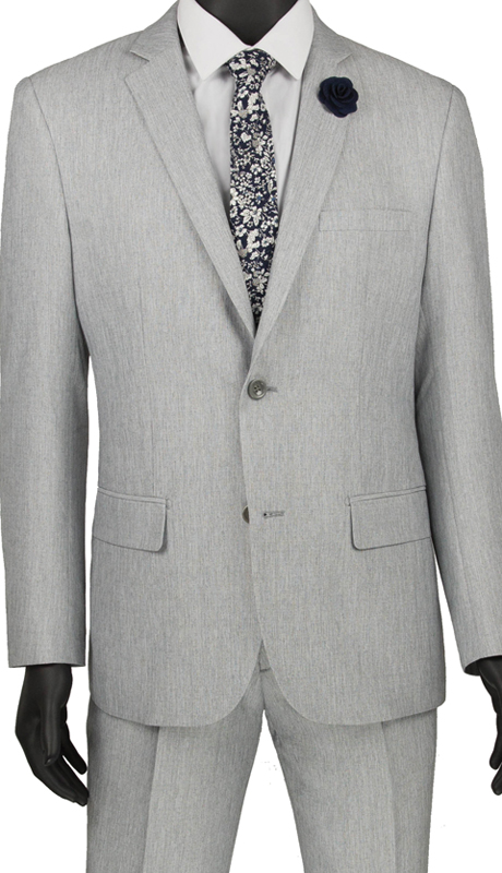 Vinci Mens Suit S2RK-8 Gray ( 2pc Single Breasted 2 Button Suit, Side Vents, Flat Front Pants )