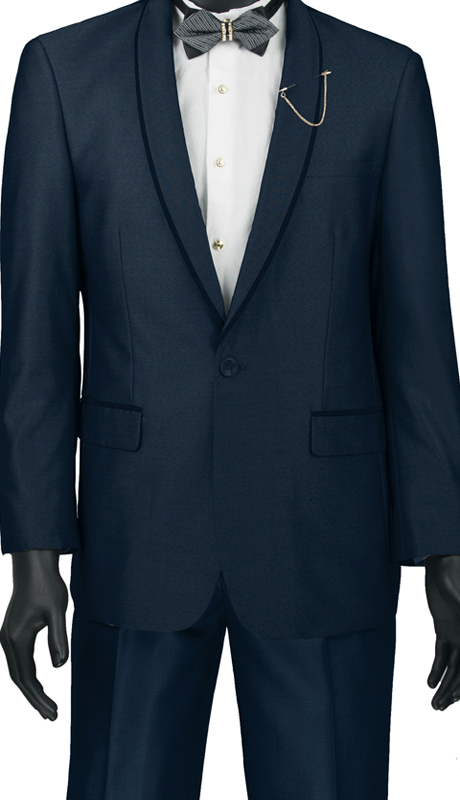 Vinci Mens Suit SSH-1-NA ( 2pc Single Breasted One Button, Trimmed Shawl Collar, Side Vents, Flat Front Pants, Shark Skin )