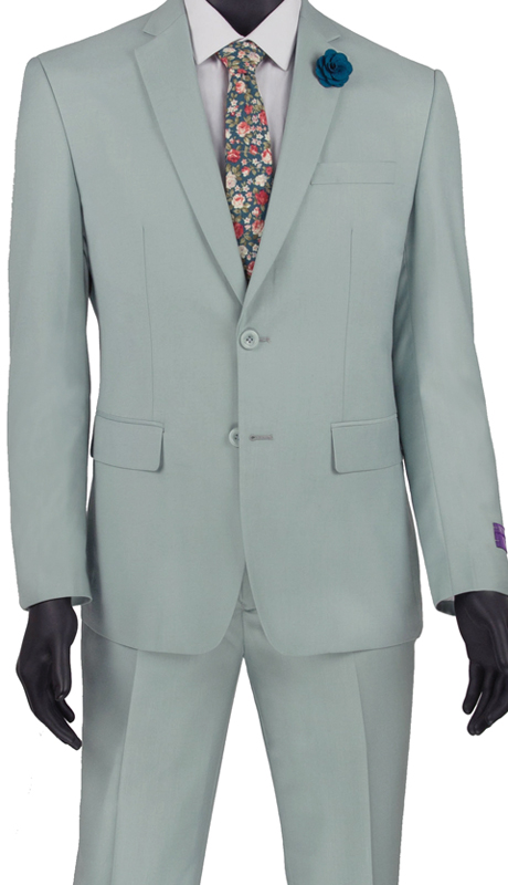 Vinci Mens Suit SC900-12-LS ( 2pc Single Breasted, Two Buttons, Notch Lapel With Pick Stitch, Side Vents, Flat Front Pants, Solid Color )