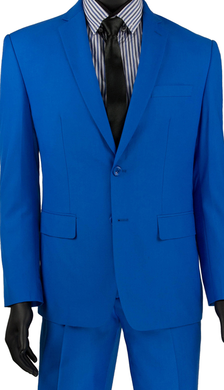 Vinci Mens Suit SC900-12-FB  ( 2pc Single Breasted, Two Buttons, Notch Lapel With Pick Stitch, Side Vents, Flat Front Pants, Solid Color )