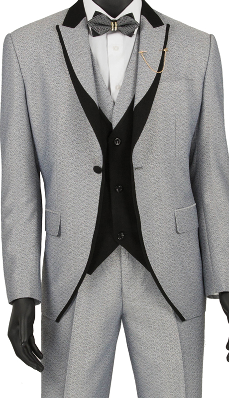 Vinci Mens Suit SV2R-5-Light Gray ( 3pc Single Breasted 1 Button Tuxedo, Side Vents, Flat Front Pants )
