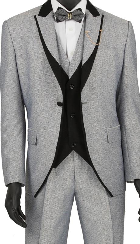 Vinci Mens Suit SV2R-5-Light Gray ( 3pc Single Breasted 1 Button Tuxedo, Side Vents, Flat Front Pants )