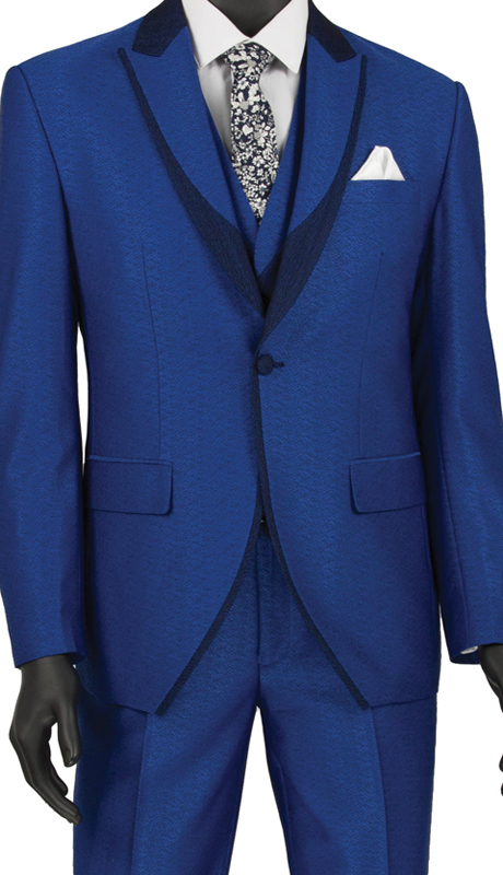 Vinci Mens Suit SV2R-5-Blue ( 3pc Single Breasted 1 Button Tuxedo, Side Vents, Flat Front Pants )