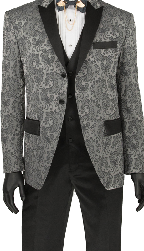 Vinci Mens Suit T-SF Gray ( 3pc Single Breasted 2 Button Tuxedo, Side Vents, Flat Front Pants )