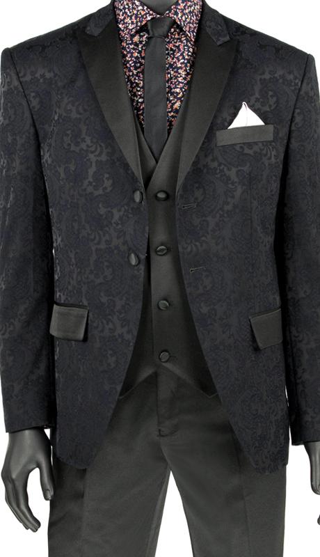 Vinci Mens Suit T-SF Black ( 3pc Single Breasted 2 Button Tuxedo, Side Vents, Flat Front Pants )